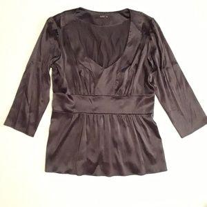 ETRO Black Silk Stretch Pintuck Blouse Size 8